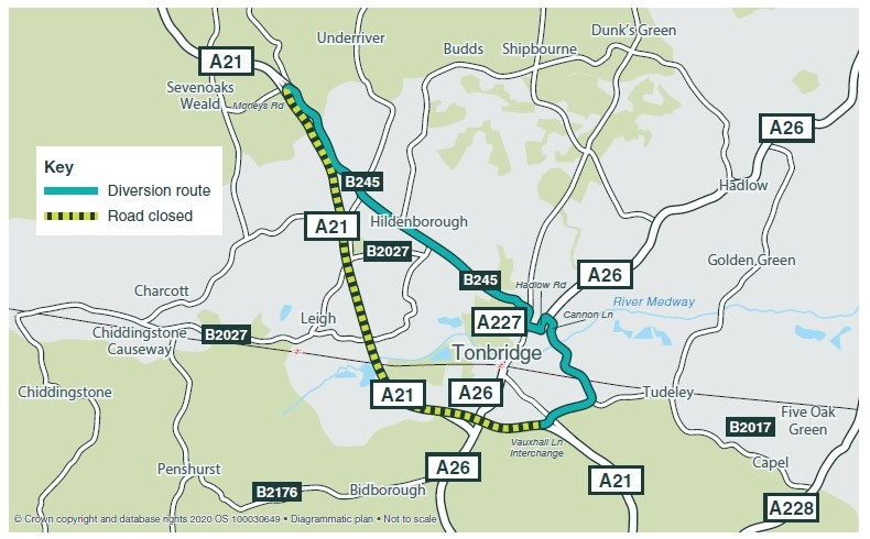 A21 diversion routes