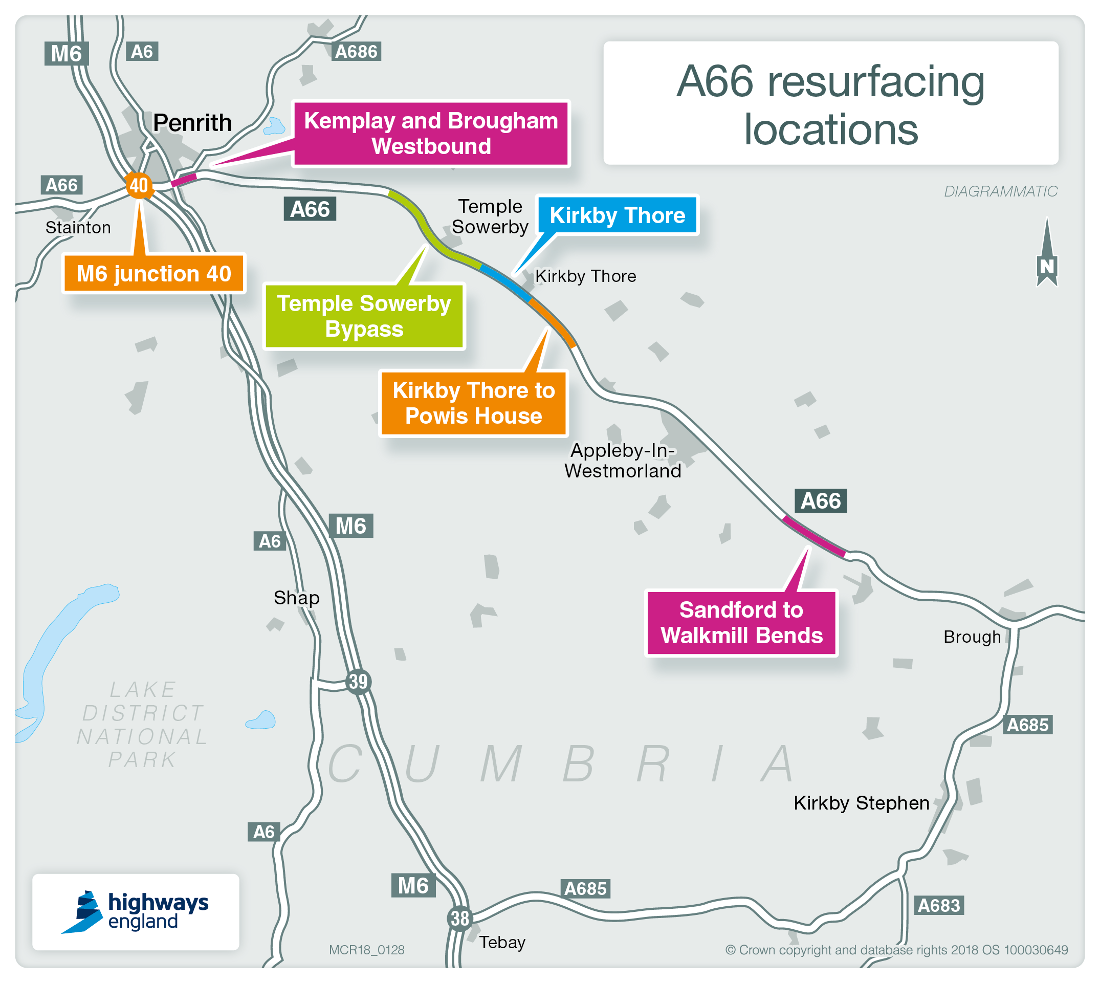 Map showing A66 project work