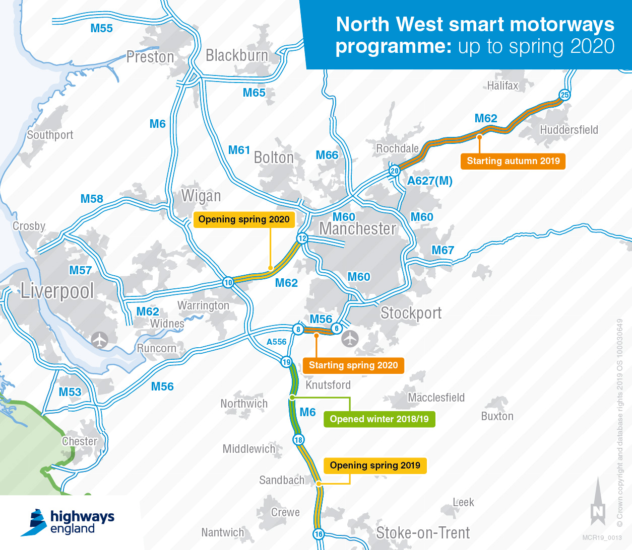 Map Of Nw England.North West Smart Motorways Improvements And Major Road Projects